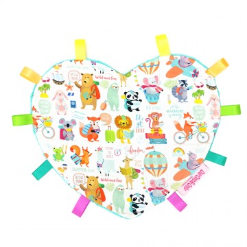 Holiday Time Heart Cotton Minky Taggies