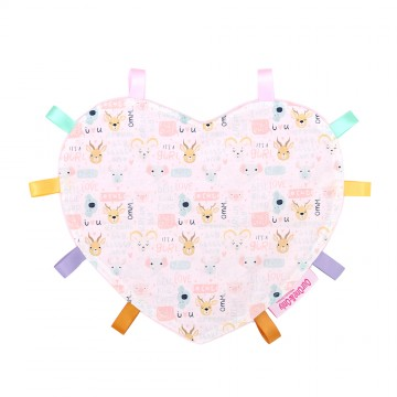 It's A Gurl Heart Cotton Minky Taggies