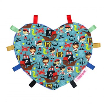 Let's Be Pirates Heart Cotton Minky Taggies
