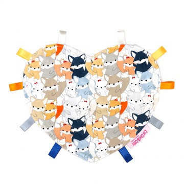 Sweetie Fox Heart Cotton Minky Taggies