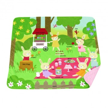Picnic Rabbits Full Minky Book Blanket