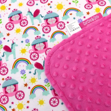 Princess Carriage Full Minky Baby Blanket