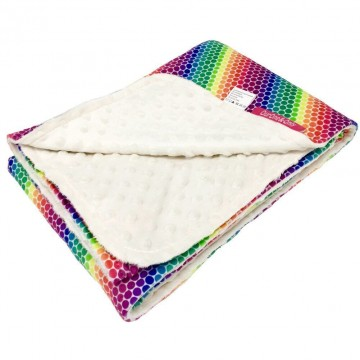 Rainbow Dots Full Minky Baby Blanket