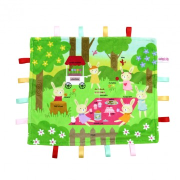 Picnic Rabbits Minky Book Taggies