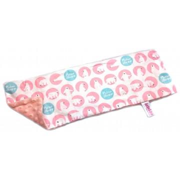 Pink Polar Bear Cotton Minky Long Pillow Case