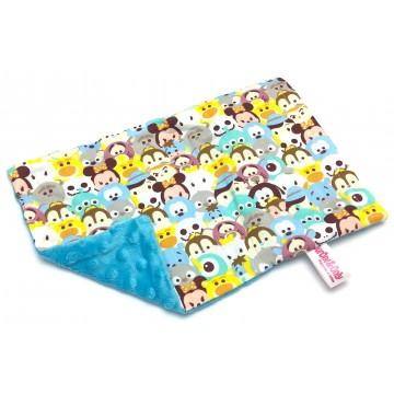Blue Tsum Tsum Cotton Minky Short Pillow Case