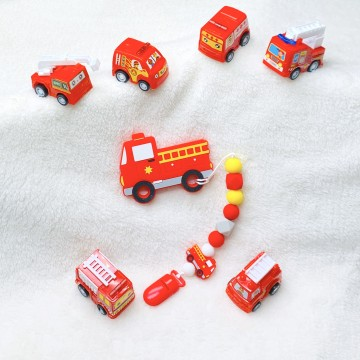 Fire Engine Teether Clip Set